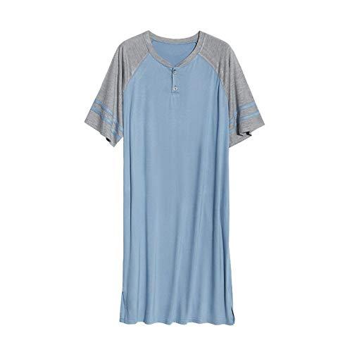 CFCYS Nachthemd Für Männer,Mode Oversize Nachtwäsche Kontrastfarbe Herren...