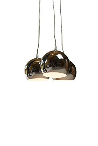 anTes interieur Hängeleuchte Balls chrom mit 3 x LED-Leuchtmittel (Mehrflammig Pendelleuchte Hängelampe Deckenlampe Pendellampe Deckenleuchte)