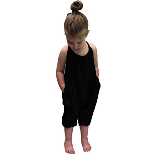 Franterd Baby Girls Straps Rompers, Kid Jumpsuits Piece Pants Clothing (Black 2, 2T)
