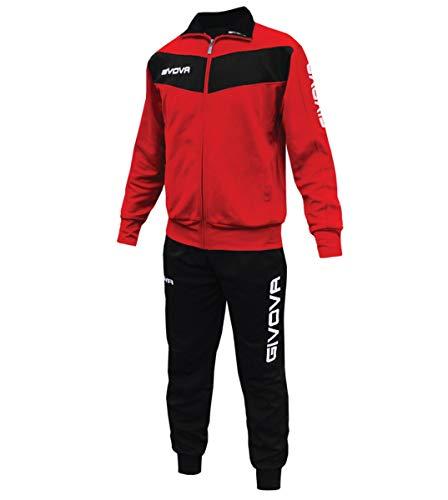 Giosal Completo Tuta Sportiva GIVOVA Uomo Donna Unisex New Visa Relax Sport Allenamento Running Rosso/Nero-S