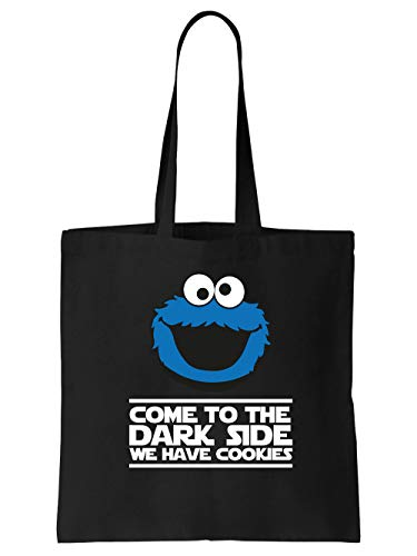 clothinx Come to the Dark Side - We Have Cookies - Lustiges Keks-Monster Motiv Stoff-Tasche Schwarz