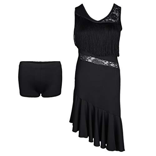 IPOTCH Damen Quaste Tanzkleid Lateinkleid Rumbakleid Cha Cha Tanzkleidung, Farbewahl - Schwarz, M