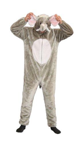 Foxxeo Premium Plsch Elefanten Kostm fr Erwachsene Damen und Herren Tierkostm Overall Jumpsuit Grße L