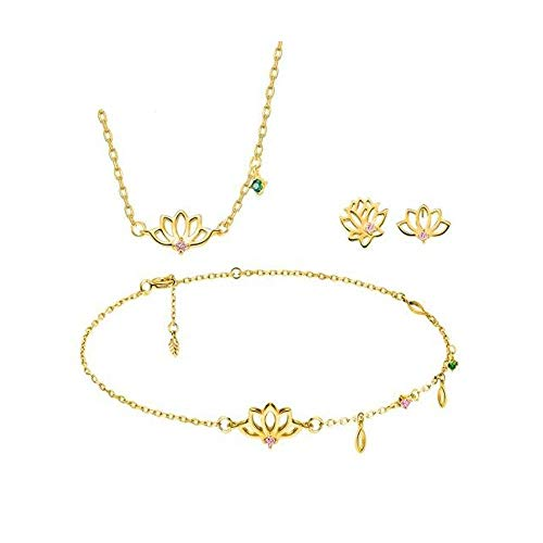 HND Necklace Bracelet 3 sets of stud earrings, 18K gold-plated zircon-plated asymmetric hand-painted lotus good margin earrings Lotus necklace lotus bracelet set gold ( Color : Gold.Three-piece suit )