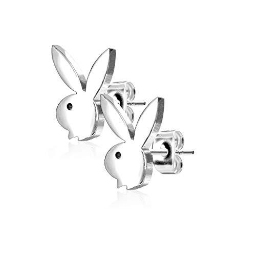 beyoutifulthings Damen 1 Paar Ohringe Ohr-ringe Set Ohr-stecker Edelstahl Chirurgenstahl Playboy-bunny silber
