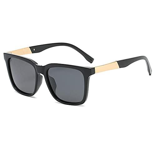 Gosunfly Gafas de sol para hombre Gafas de sol polarizadas Caja cuadrada clásica Espejo de tinta Gafas de sol para mujer-Lente polarizada_Marco de oro negro