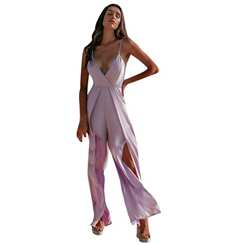 POTTOA jumpsuit dames elegante mouwloze overall zomer rommer met V-hals en riem Playsuit vrouwen lang eenkleurig speelpak casual broekpak joggingpak met zakken luoluo
