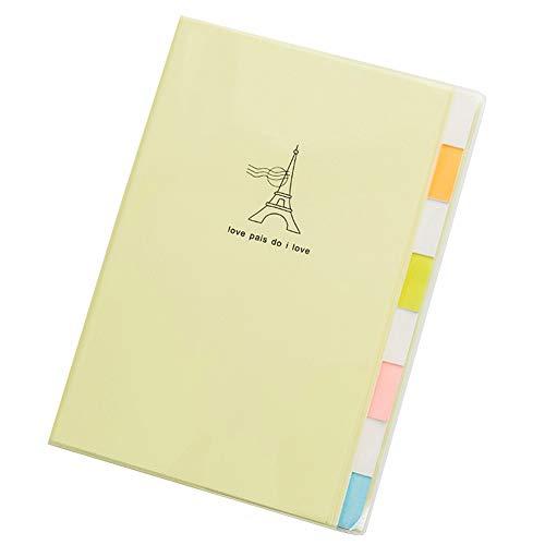 Cuaderno con separadores, bloc de notas con temas, cuadernos de proyecto, líneas rayadas, organización de revisiones para estudiantes, oficina (colores surtidos), color amarillo B5