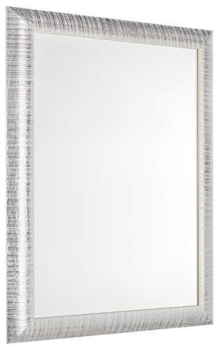 GaviaStore - Elise 70x50 cm - Espejo de Pared Moderno - Muebles para el hogar Arte decoración Sala de Estar Sala Moderna Dormitorio baño Cocina Entrada Wall (Silver)