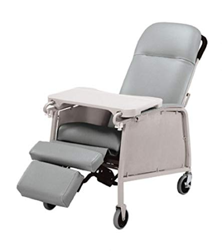 Graham-Field Lumex Three-Position Clinical Care Recliner with Swivel Casters, Jade, 574G857, Blue