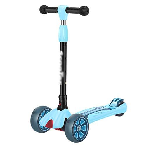 ZZL Patinete de patada para niños de 2 a 12 años de edad, freno de rueda trasera inclinado para dirigir ruedas intermitentes PU Scooter manillar ajustable Kickboard (color azul)
