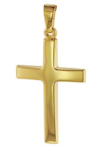 trendor Kreuz-Anhänger Gold 750 (18 Karat) 32 x 17 mm Damen und Herren Goldanhänger, Kreuzanhänger, Geschenkidee, eleganter Schmuck aus Echtgold 75095