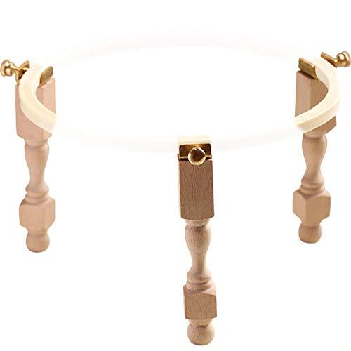 MOCOHANA Adjustable Portable Wooden Embroidery Hoop Stand Set Morgan Lap Stand Needlework Cross Stitch Frame Rack (3Pcs)