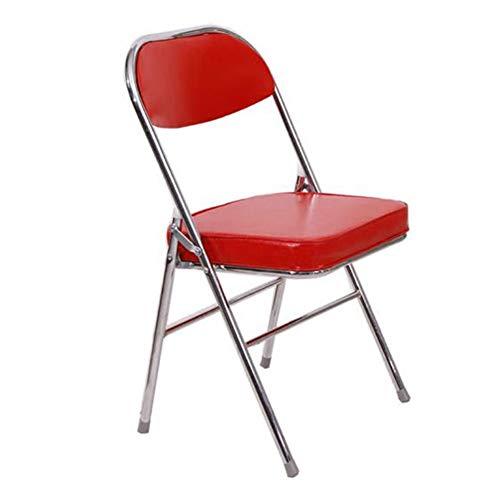 QIDI Chaise Pliante, Tabouret Pliant, Chaise de Bureau, Chaise d'ordinateur, Siège, Cuir, Acier, Simple Moderne - Noir/Rouge (Couleur : Red)