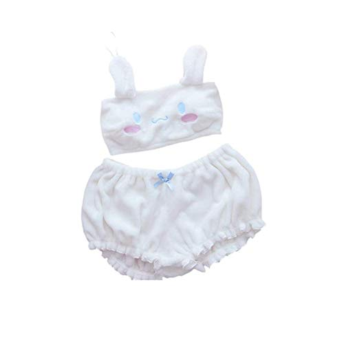 My Melody Cosplay BH Anime Cute Loli Velvet Set Kostüm mit Bloomers - Weiß - Large