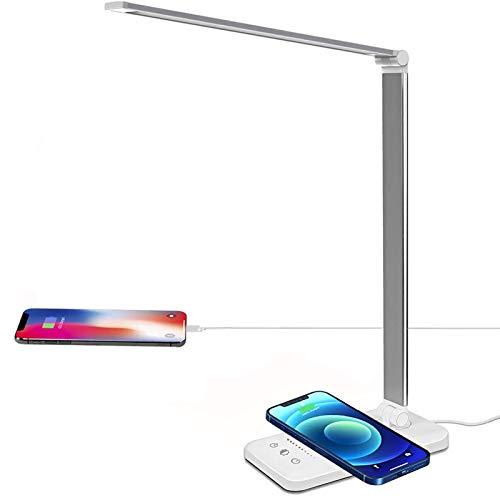Lacmisc Lámpara de escritorio con cargador inalámbrico LED de 6 W