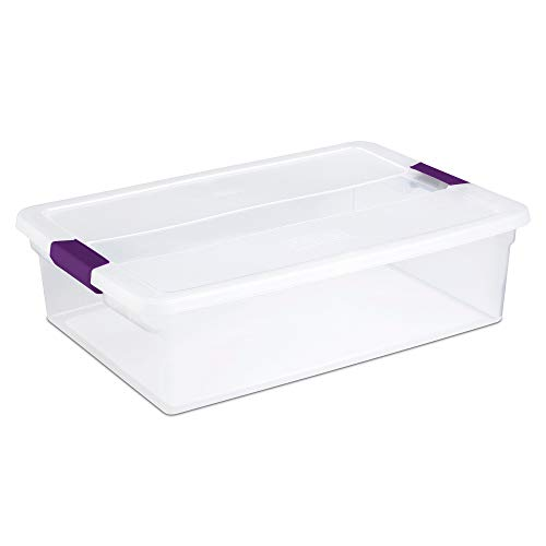 Sterilite 17551706 32 Quart Clear View Storage Container With Plum Handles