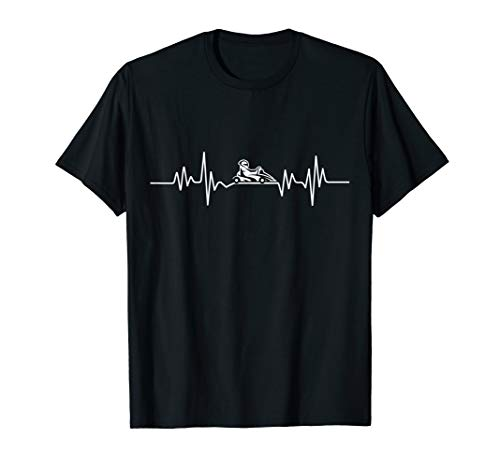 Go Cart Racer Heartbeat Line Pulse Go Kart Racing T-Shirt