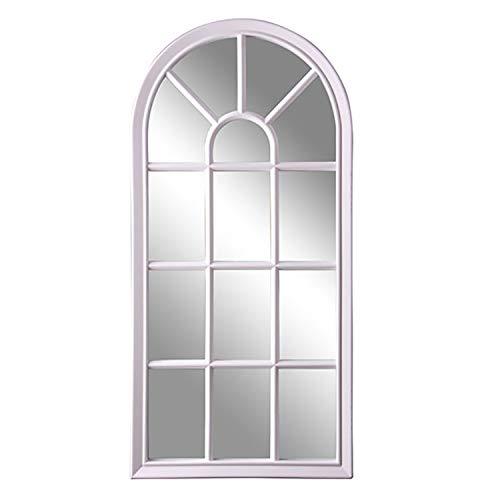 Mojawo Hochwertiger Hängespiegel Wandspiegel Spiegel Dekospiegel Holzspiegel weiß in Fenster-Optik H73xB35cm