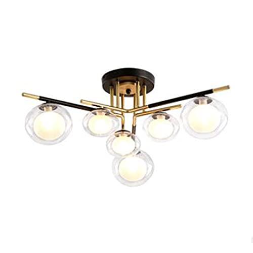 FGART Lámpara de araña moderna Sputnik de mediados de siglo, G9 semi-empotrada montaje lámparas de techo para sala de estar, dormitorio, pasillo, luces colgantes clásicas, 6 luces negras y doradas