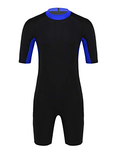 JanJean Mens Sun Protective Short Sleeves Full Body Swimsuit Shorty Wetsuit Surfing Diving Wetsuit Royal_Blue M