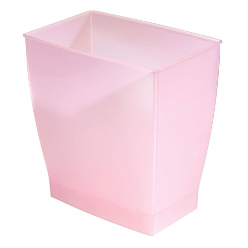 iDesign Spa Rectangular Trash, Waste Basket Garbage Can for Bathroom, Bedroom, Home Office, Dorm, College, 2.5 Gallon, Blush