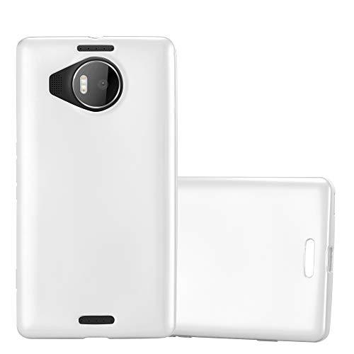 Cadorabo Hülle für Nokia Lumia 950 XL in METALLIC Silber - Handyhülle aus flexiblem TPU Silikon - Silikonhülle Schutzhülle Ultra Slim Soft Back Cover Hülle Bumper