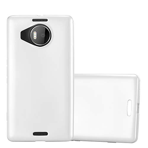 Cadorabo Custodia per Nokia Lumia 950 XL in Argento Metallico - Morbida Cover Protettiva Sottile di Silicone TPU con Bordo Protezione - Ultra Slim Case Antiurto Gel Back Bumper Guscio