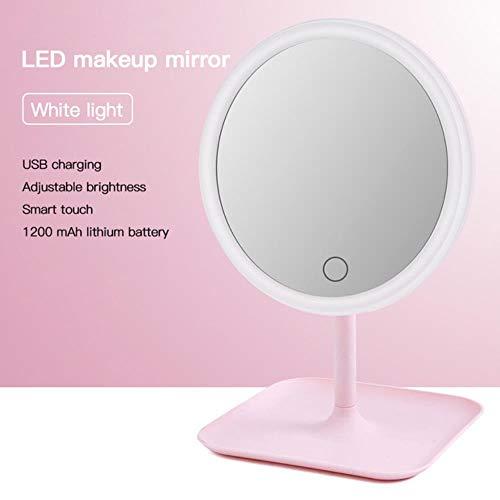 LCZMQRCLMZRQ Met led-lamp make-upspiegel kaptafel spiegel schoonheid ringlamp spiegel schoonheid gereedschapswissel foto invullicht draagbare kleine spiegel, wittelichtspiegel
