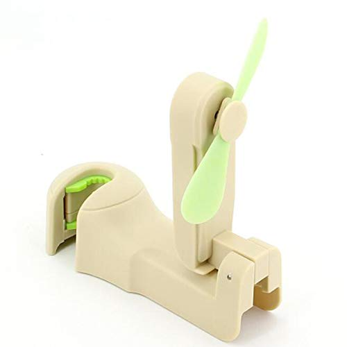 DERCLIVE Mini gancho para el respaldo del asiento del coche con cerradura universal gancho para reposacabezas con ventilador plegable, color beige y negro
