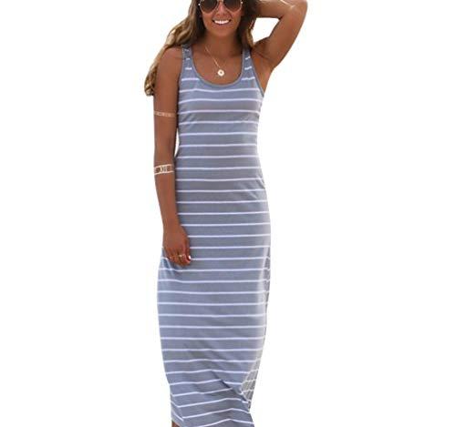 Dames gestreepte mouwloze ronde hals zomerjurken uitsnijding koperen jurken kuitlengte strandjurken modieuze compleetti strandjurk feestje lange jurk casual