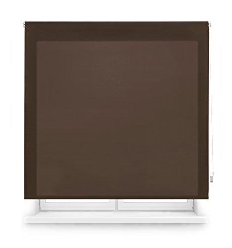 Blindecor Ara - Estor enrollable translúcido liso, Marrón Oscuro, 120 x 250 cm (ancho x alto)