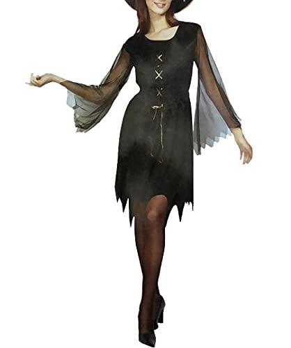 Disfraz de gitano negro para mujer, disfraz de Halloween, para fiestas, Disfraz de color negro., talla nica