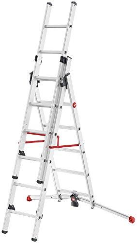 HAILO 9306-507 - Escalera Aluminio combinada 3 tramos con estabilizador Curvo ProfiLOT...