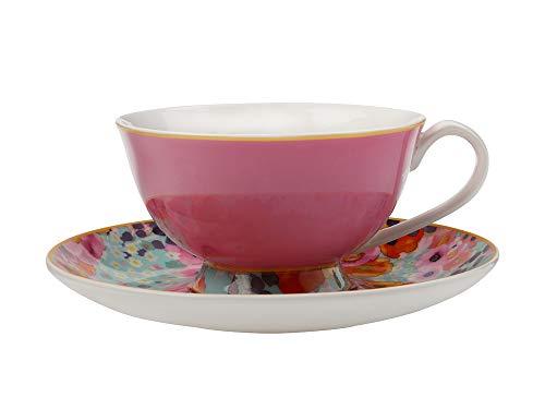 Maxwell & Williams Cashmere Bloems Tazza da tè e piattino, Porcellana, Rosa/Blu, 200 ml