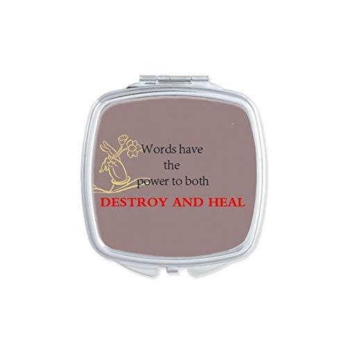 DIYthinker Woorden hebben kracht om Boeddha Quote Vierkant Compact Make-up Spiegel Draagbare Leuke Hand Pocket Spiegels Gift