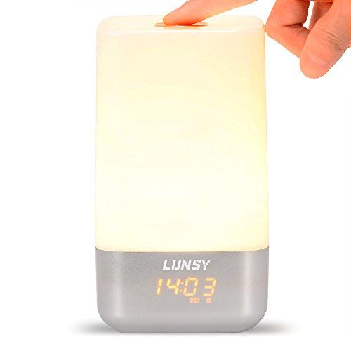 lunsy Wake Up Light, lámpara de mesa con simulación de amanecer, reloj despertador, luz blanca cálida regulable y batería LED Control de cambio de color Smart atmósfera lamp-touch