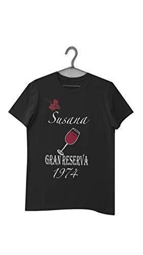 Camiseta Personalizada. Gran Reserva - Camiseta Personalizada con tu Nombre y año de Nacimiento, Solo Apta para los Gran Reserva (Negro/Mujer, XL)