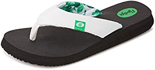 Classic Summer Flip Flop Thong Sandals for Women-Comfort Strap and Yoga Mat Padding Insoles for Support-Printed Soft Jersey Lining, Non Slip Soles