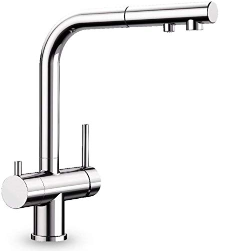 Grifo de diseño de 3 vías con ducha extraíble, color cromo