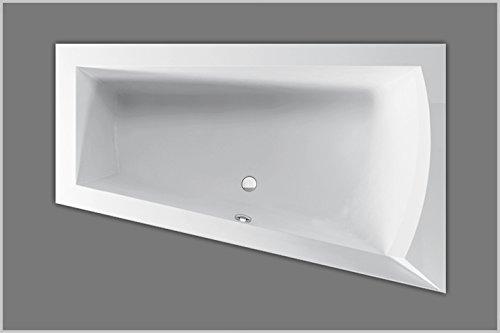 Badewanne Acryl trapez Raumsparwanne Links, weiß 160x100cmx48cm