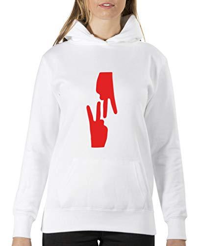 Comedy Shirts – Vape Nation Handzeichen – Sweat-Shirt à Capuche pour Femme – Capuche Kangourou à Manches Longues – Pull imprimé - Blanc - XL