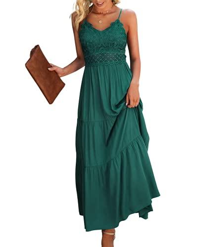 Dokuritu Women's Beach Crochet Lace Maxi Dress Summer Spaghetti Strap Maxi Dress DarkGreen