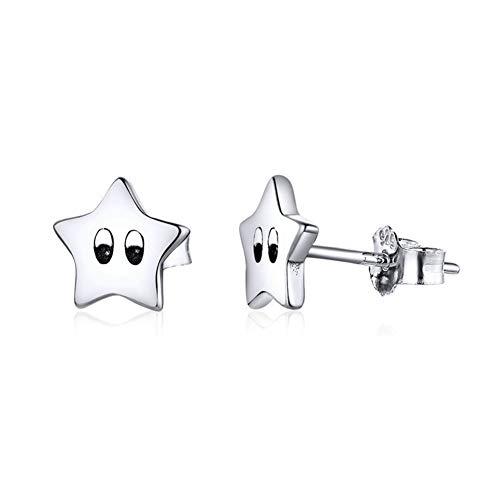 Vioness - Pendientes pequeños de plata 925 para mujer, diseño de estrella pentáculo con ojos grabados simple, joyas creativas