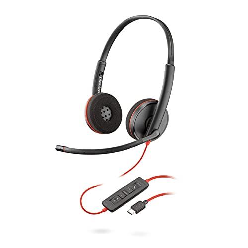 Plantronics Blackwire C3225 Casque stéréo avec port USB-C et 3,5 mm (réduction du bruit), Soundguard et bras flexible pour microphone Noir