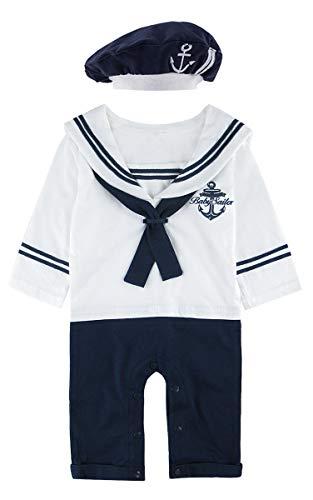 MOMBEBE COSLAND Baby Jungen Matrose Kostüm Strampler mit Hüte Langarm (12-18 Monate/100 UK, Weiß)