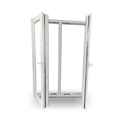 JeCo Fenster Kunststofffenster Wohnraumfenster - 2 flügelig mit Pfosten - BxH:1800x1400 mm - 2-fach-Verglasung - 60 mm Profil - Sondermaße möglich