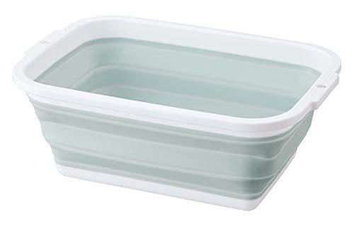 ミツヒロ 洗い桶 グリーン (満水容量)約8.5L コンパクトになる洗い桶 252886