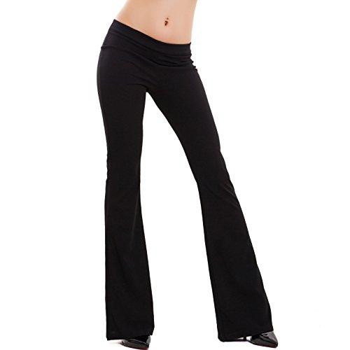 Toocool - Pantaloni Donna Campana Aderenti Zampa Elefante Elasticizzati Hot Nuovi AS-2462 [Taglia Unica,Nero]