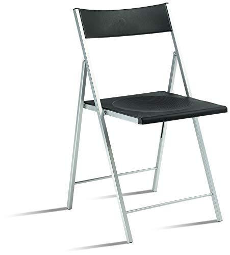 Eurosilla Slim – Chaise Pliable pour Salon, Noir, 77 x 43 x 45 cm